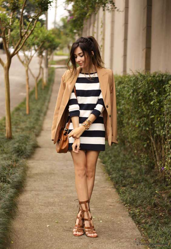 dress with mid calf gladiator sandals